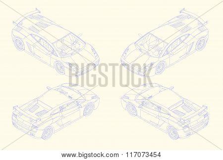 sports car isomectric view vector