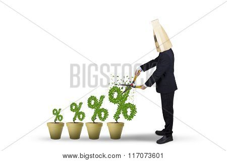Man Cuts Percentage Symbol