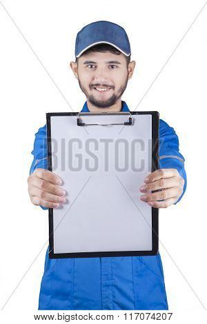 Mechanic Showing Empty Clipboard