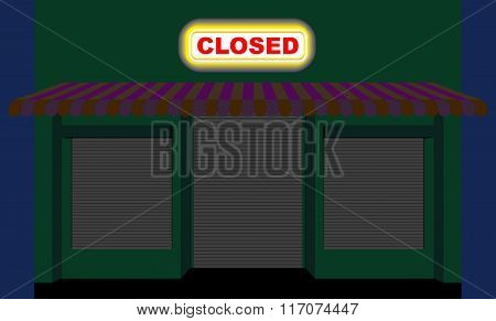 Convenience Store. Shop At Night. Plate Is Closed. Closed Showcase Role Shutters. Empty Storefront