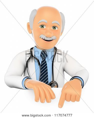 3D Doctor Pointing Down. Blank Space