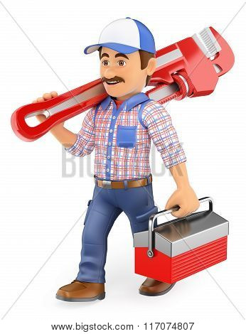 3D Plumber Walking With A Pipe Wrench And Toolbox