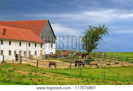 Traditional Red Tiled Roof Farm House With Horses In Bavaria, Germany