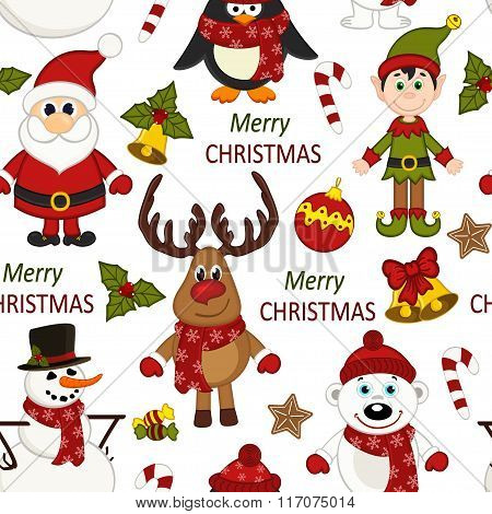 Christmas seamless pattern with Santa, penguin, deer, bear, snowman, elf