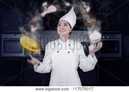 Professional Chef Cooking With Magic