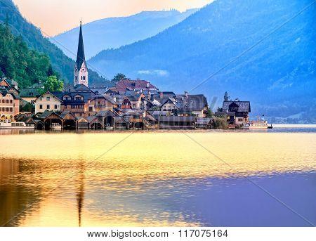 Hallstatt Town On A Lake In Alps Mountains, Austria