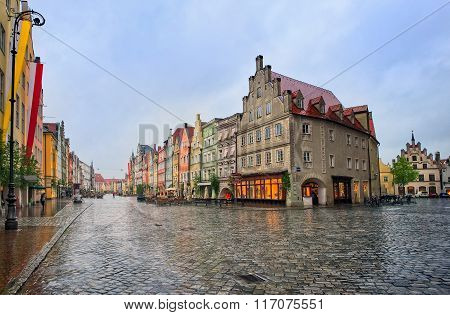 Old Gothic Street In Bavarian Town By Munich, Germany