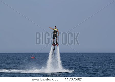 Unidentified Turkish Man Flyboarding
