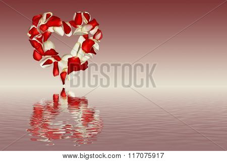 Heart from the petals of roses on a pink shaded background with reflection in water