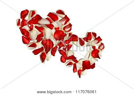 Two hearts with petals of roses on a white background