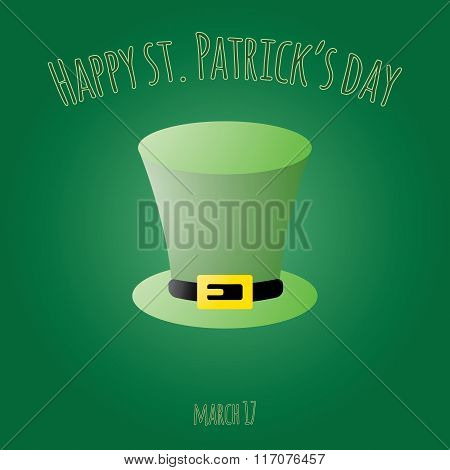 Happy Saint Patrick Day Card With Leprechaun Hat