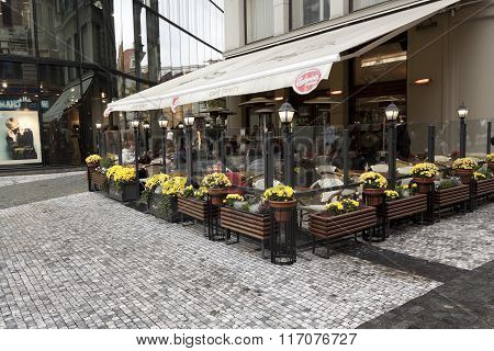 Street Cafe In Prague. People Visit Even In Autumn