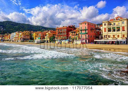 Touristic Town Alassio On Italian Riviera, Italy