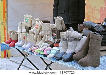 Variety Of Traditional Russian Felt Boots