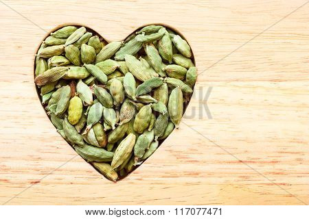 Green Cardamom Pods Heart Form