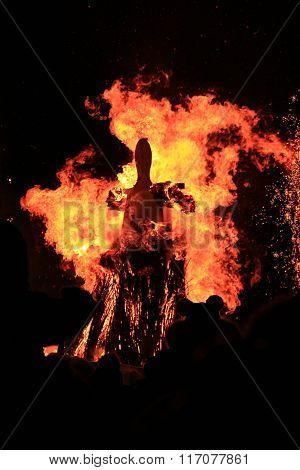 Burning Of Maslenitsa Scarecrow In Evening