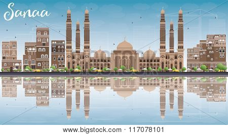 Sanaa (Yemen) Skyline with Brown Buildings, Blue Sky and Reflections. Vector Illustration. Business Travel and Tourism Concept with Historic Buildings. Image for Presentation Banner, Placard and Web.