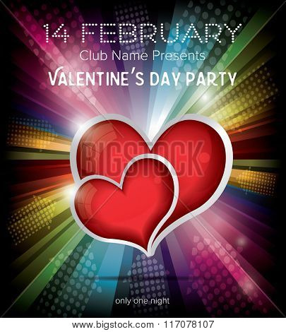 Happy Valentines Day Party Flyer Design Template on Rainbow Background. Vector Illustration. Club Flyer Concept with Two Red Hearts and Copy Space.