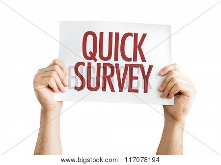 Quick Survey placard isolated on white