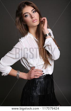 Gorgeous Sensual Woman With Dark Straight Hair Wears Elegant Dress