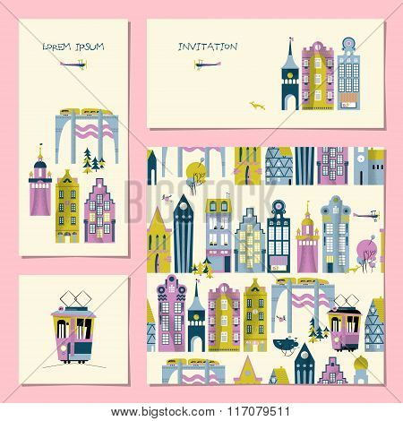 Set Of 4 Universal Cards With Old European Style Buildings. Template. Birthday, Anniversary, Childre