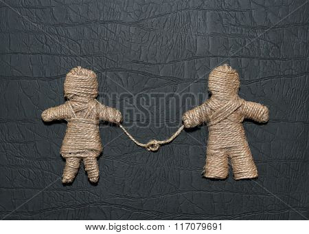 Figurine Of A Man And Women Made From Hemp Rope Are Related To A Rope With A Knot. Be My Valentine F