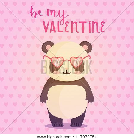 Cute Greeting Card For Valentines Day With Illustration Of Panda With glasses.
