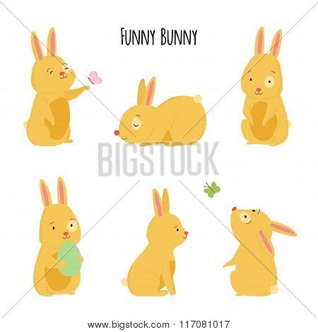 Cute Vector Illustration Of Cheerful Rabbits