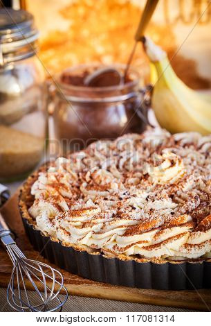Banoffee Pie With Whipped Cream And Chocolate