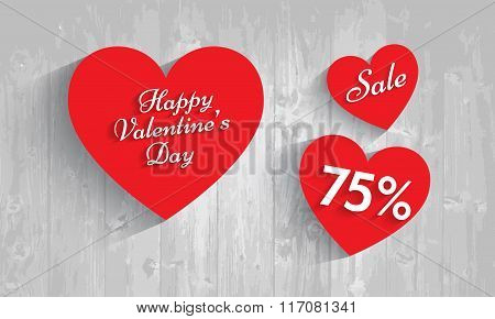 Valentine`s Day Sale, 75  Percent Discount. Vector Eps 10.