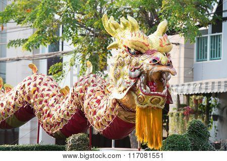 Huahin Thailand - Feb3,2016:chinese Golden Dragon Celebrate Chinese New Year On Traffic Island At Hu