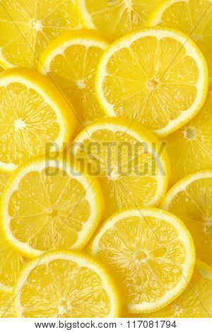 heap of fresh lemon slices - full frame