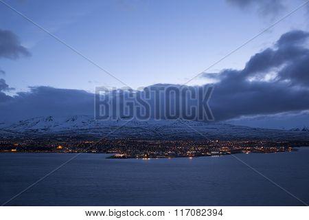 Icelandic City Akureyri At Night
