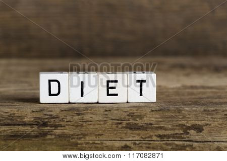 The Word Diet Written In Cubes