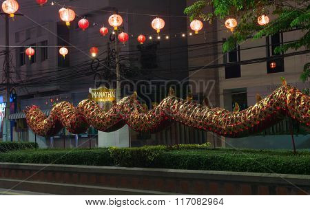 Huahin Thailand - Feb4,2016:body Of Chinese Golden Dragon Celebrate Chinese New Year On Traffic Isla
