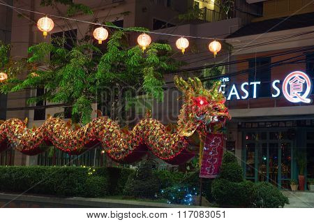 Huahin Thailand - Feb4,2016:chinese Golden Dragon Celebrate Chinese New Year On Traffic Island,night