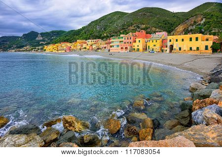 Colorful Fisherman's Houses On The Sand Beach Lagoon Varigotti, Liguria, Italy