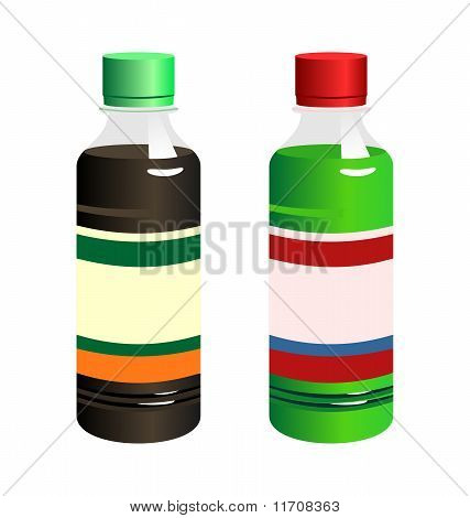 Illustration Set Of Two Bottle With Label