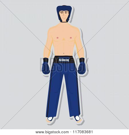 Vector kickboxing fighter