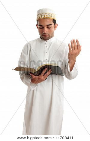 Teacher Or Preacher Reading From A Book