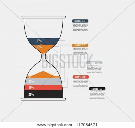 Vector hourglass infographic template. Design business concept for presentation, graph and diagram.