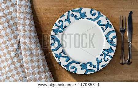 Empty Plate And Cutlery - Table And Tablecloth