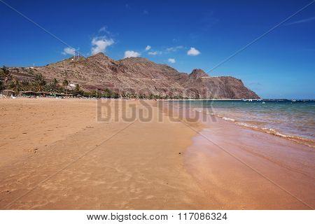 Scenic view of Las teresitas beach in Tenerife Canary islands Spain.
