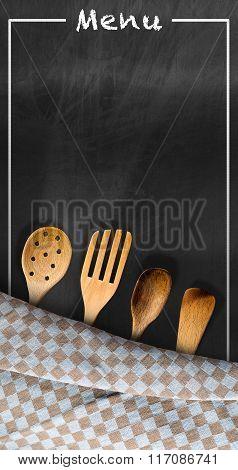 Menu - Blackboard With Kitchen Utensils