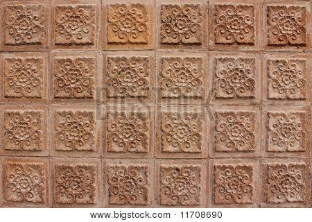 Thai Design Of Brown Wall