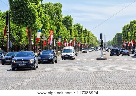 Paris, France , May 18, 2015:   perspective of Champs Elysees near the metro Franklin D. Roosevelt,