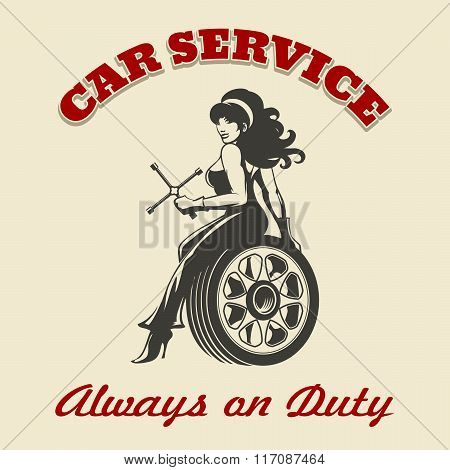 Car Service Retro Poster