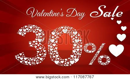 Valentine`s Day Sale, 30  Percent Discount Made Of Little Hearts. Vector