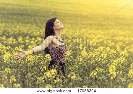 Happy Positive Woman In Sunny Summer Love Of Youth Freedom