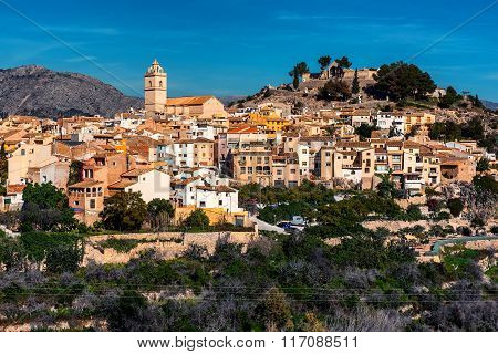 Picturesque Spanish Hillside Village Polop De La Marina. Alicante, Costa Blanca. Spain